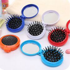 Girl Portable Travel Folding Hair Brush With Mirror Pocket Size Massage Comb Hot