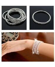 Women's/Girls: Silver Plated Cubic Zirconia Rhinestone Gem Expandable Bracelet