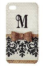 Monogram Bling Initial Rhinestone Customize Damask For Various Phone Case Cover