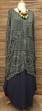 LAGENLOOK AMAZING BEAUTIFUL PRINT 2 POCKETS LONG TUNIC*KHAKI* BUST UP TO 48""