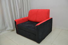 MODERN SPACE SAVING SOLUTION, SINGLE CHAIR BED 'SUN' BLACK/RED FAUX SUEDE