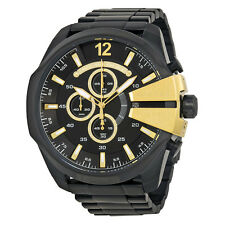 Diesel Mega Chief Chronograph Black Dial Black Ion-plated Mens Watch DZ4338