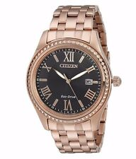 Citizen Eco-Drive Women's EO1143-54E Black Dial Rose Gold Bracelet Watch