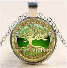 Celtic Gold/Green Tree Of Life  Glass Cabochon Tibet Silver Chain Necklace#3623