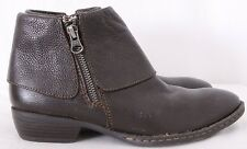 Born BOC Dark Brown Leather Fold-over Zip Ankle Booties Boots Women's US 6