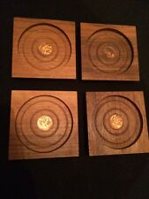 Rare! Vintage 1964 Set of 4 Wood Coasters with Real Canadian Coin Inside