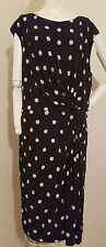 Plus 22W/3X Lauren Ralph Lauren Black/White Polka Dot Modest Ruched Sheath Dress