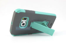 FOR SAMSUNG GALAXY S6 EDGE GREY MINT GREEN V2 IMPACT SHOCK STAND CASE COVER