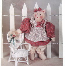 """Prissy Missy Country Primitive Craft Pattern 16"""" rag doll Kitty Cat & clothes"""