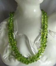 272Cts NATURAL PERIDOT FACETED BRIOLETTES BEADS NECKLACE WITH STONE CLASP