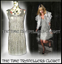 Kate Moss Topshop 1/500 LTD E Vintage Crystal Silver Beaded Flapper Dress UK 6 8
