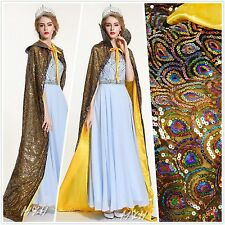 "Peacock Scales Sequin Cloak Coat 71"" Satin Poncho Cape Bridal Pageant Party Prom"
