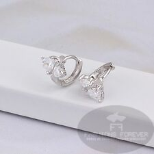 FASHIONS FOREVER Cubic Zirconia Hoop-earring FFCZER012 Platinum-plated UKseller
