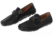 NEW SALVATORE FERRAGAMO BLACK CALFSKIN  DRIVING MOCCASINS SHOES  42.5/ 8.5 EEE