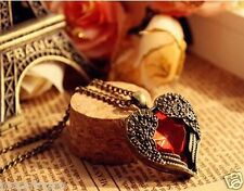 2017 New Retro red necklace carved peach heart wings sweater chain&