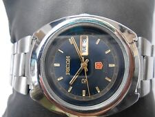 RARE VINTAGE SS BIG SIZE NAVY BLUE DIAL RICOH 9 JAPAN MENS AUTOMATIC WRISTWATCH