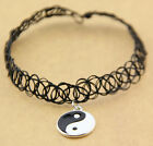 Yin and Yang Tattoo Choker Elastic Necklace Pendant Grunge 90s Ying Festival