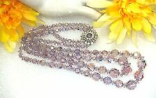 BREATHTAKING VINTGE NECKLACE 2 STRAND LAVENDER CRYSTAL HIGH END UNSIGND SHERMAN?