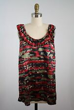 Mac Jac Sleeveless Ikat Print Satin Blouse Side Zip Size L