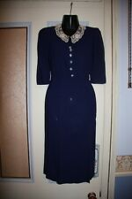 Genuine vintage 1940s navy tea dress lace collar glass buttons VGC small wartime