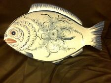 PORTUGAL MAJOLICA LARGE FISH SERVING PLATE PLATTER WALL HANGING BLUE & WHITE 20""