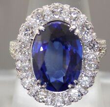 10.20CT NATURAL VS2 KASHMIR BLUE SAPPHIRE DIAMOND 14K GOLD ENGAGEMENT RING