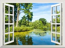 """Wall Mural - Lush Green Woodland Park Reflecting in Tranquil Pond - 24""""x32"""""""