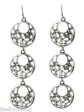 "Bohemian Style Antiqued Aged Finish Silver Dangle Earrings 3 1/4"" Drop"
