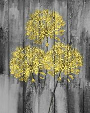 Yellow Gray Rustic Modern Artwork Home Decor Floral Wall Art Matted Picture