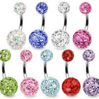 TITANIUM Bar SMOOTH Ferido Crystal Belly Bar -Pick Colour-6mm 8mm 10mm 12mm 14mm