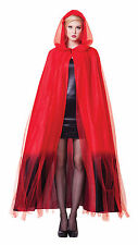 * LADIES RED DEVIL HOODED CAPE FANCY DRESS VAMPIRE COSTUME HALLOWEEN OUTFIT NEW