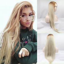 Natural Celebrity Lace Front Ariana Grande ombre blonde light roots Womens Wig