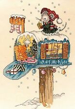 Cross Stitch Pattern for Christmas Mouse on Top of Her Decorated Mailbox House