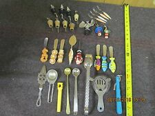 large lot of vintage bar utensils pourers ice tongs spreaders Absinthe spoon etc