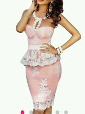 NEW Sexy pink white lace Skirt Peplum Boutique Dress SIze 8-10-12-14