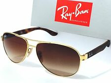 NEW* Ray Ban AVIATOR Matte Gold Brown Havana RB 3457 112/13 Gradient Sunglass