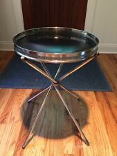 EISENBERG LOZANO MID CENTURY MODERN SILVER PLATE FORMICA BAR TRAY TABLE STAND