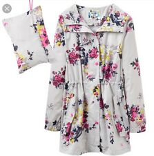 NEW JOULES Silver Flower GOLIGHTLY Waterproof Raincoat Pack Away Parka Size 10