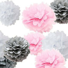 9 Pink Gray Party Supplies Decoration Wedding Nursery Baby Shower Decor Pom Poms