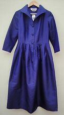 $1400 Makola Shantung Silk Purple Button Down Dress Size M NWT