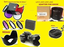 CAMERA LENS ADAPTER L830 L840 +FILTER KIT+FLOWER HOOD+CAP 62mm for Nikon Coolpix