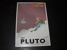 PLUTO Skiing Space Travel Art 4X6 Postcard like poster print Steve Thomas
