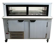 """Cooltech 1-1/2 Door Glass Box Display Refrigerated Sandwich Prep Table 48"""""""
