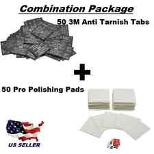 Combo Pack  50 3M Anti-Tarnish Paper Tabs  &  50 Pro Polish Polishing Pads