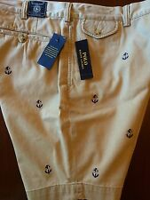 NEW RALPH LAUREN POLO BEDFORD  SHORTS CHINO KHAKI TAN ANCHORS ALL OVER  40