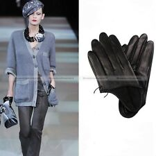 Women PU Leather Half Palm Gloves Punk Motorcycle Gloves Black WGLV023