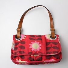 Orla Kiely Etc. Leather Canvas Shoulder Purse Red Pink Daisy Stem Print Hand Bag