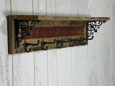 Reclaimed Barn Wood Wall Shelf Rustic Entryway Hammered Copper Coat Rack Hooks