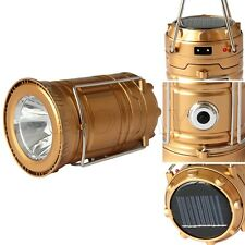 Collapsible Solar Outdoor Rechargeable Camping Lantern Light LED Hand Lamp Gold