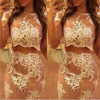 Sexy Women Lace White Two-Piece Bodycon Crop Top Skirt Club Party Bodycon Dress